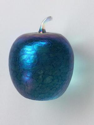 John Ditchfield Glasform Irridescent Blue Apple Paperweight