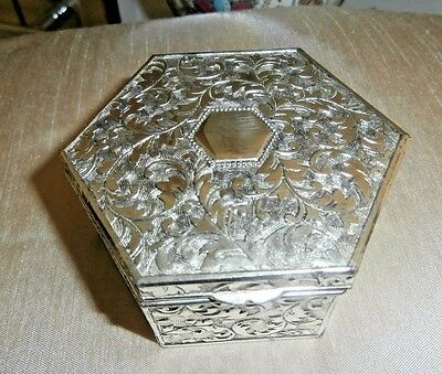 Lovely Vintage Silver Metal Hexagon Shaped Trinket Box