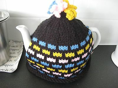 Hand knitted Retro Pattern tea cosy, Multicoloured , medium size
