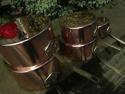 French Vintage Copper Pan Set Of 5  Saucepans Made By Art Et Cuisine Of France