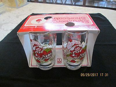 Vintage Anchor Hocking Strawberry Shortcake 4 Beverage Glasses 1980 12 Oz Iob