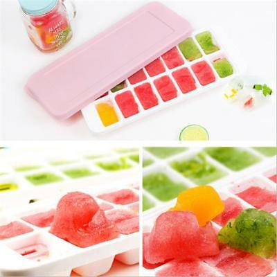 Square Ice Cube Tray With Lid Quick Snap Easy Release Silicone Mold Home Tool CB
