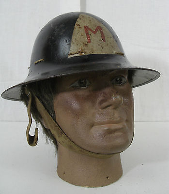 Ww2 V Rare Mine ? Morris Factory ? Painted Markings Dated 1941 Zuckerman Helmet