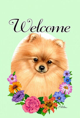 Garden Indoor/Outdoor Welcome Flag (Flowers) - Pomeranian 630131