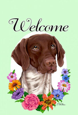 Garden Indoor/Outdoor Welcome Flag (Flowers) - German Shorthaired Pointer 630491