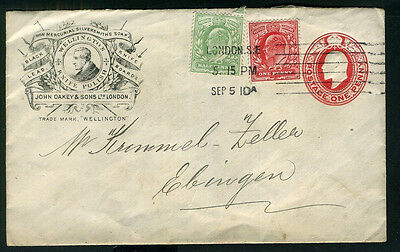 1910 Postal Stationery ILLUSTRATED ADVERT Cover KNIFE POLISH Soap BLACK LEAD