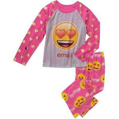 New Girls Emoji Sleepwear 2-Pc Set Pajamas Heart Love Emoji Size 10/12 Nwt