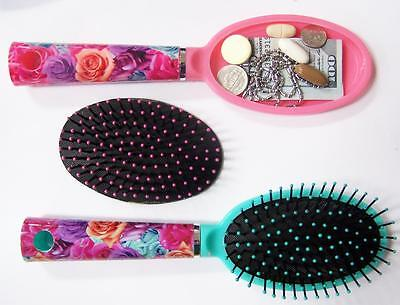 HAIR BRUSH STASH SAFE BOX w FLOWERS HANDLE Security hidden compartment HIDE new