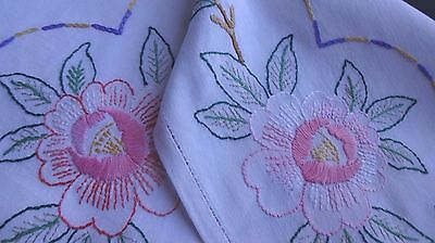 Vintage Hand Embroidered Tablecloth- large amount of embroidery in a small cloth