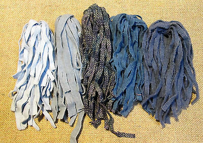 Bluer than Blue 125 count  #8 Primitive Rug Hooking Cut Wool Strips