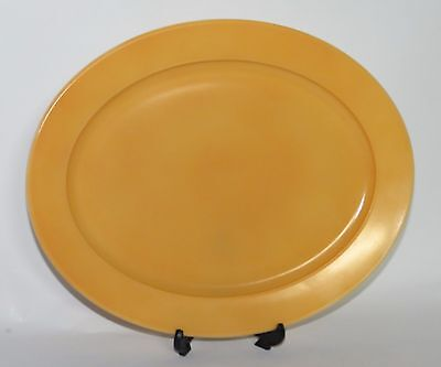 Vintage Hazel Atlas MODERNTONE Pastel Yellow Gold Oval Serving Platter