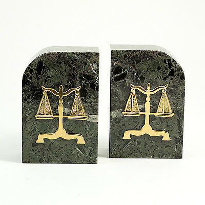 """Bey-Berk Marble Bookends with """"Legal"""" Emblem"""