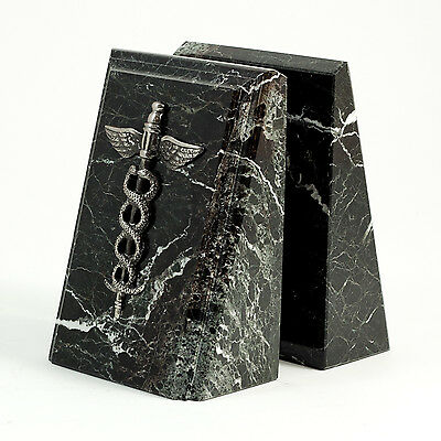 """Bey-Berk Marble Bookends with """"Medical"""" Emblem"""