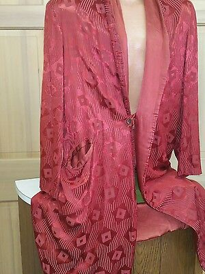 Vintage 30s 40s Red Abstract Print Smoking Jacket / Robe Large 42-44 theatre