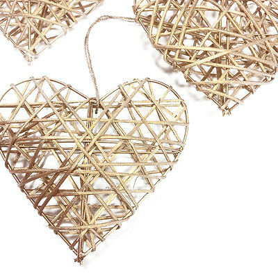 TRIO OF GOLD 10cm RUSTIC RATTAN HANGING LOVE HEARTS - WEDDING GIFT DECORATION