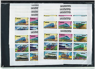 10 x MONGOLIA, Stamps, SHEETS, Railways, Trains, Railroad, Locomotives, MNH -Imp