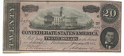 Confederate $20 note, 1864  - Very nice uncirculated condition