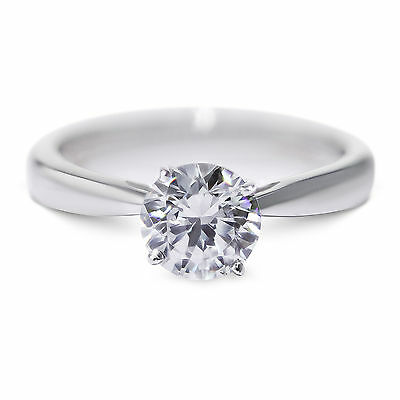 14K White Gold Diamond Ring Natural Certified 1.27 Carat Round Brilliant D SI3