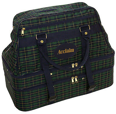 ACCLAIM Triple Decker 4 Bowls Bowling Bag Tartan Green Navy Marked Small Check 6