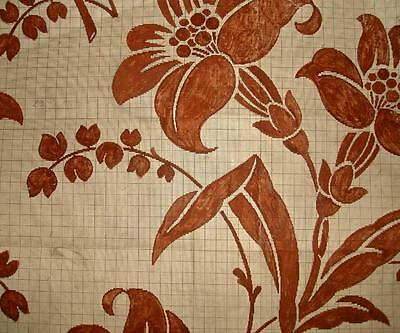 BEAUTIFUL 19th CENTURY HAND PAINTED FRENCH SILK DESIGN CARTOON, DATED 1850
