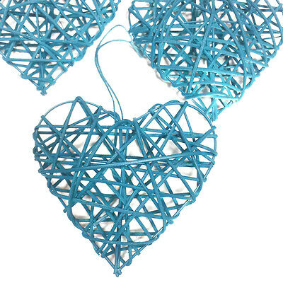 TRIO OF TEAL BLUE 10cm RUSTIC RATTAN HANGING LOVE HEARTS WEDDING GIFT DECORATION