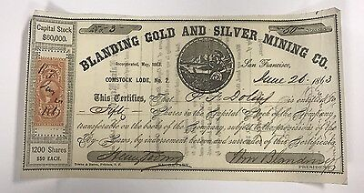 1863 Blanding Gold & Silver Mining Co. #3 $60,000 Capital Stock 50 Shares