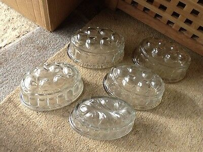 five vintage retro glass jelly moulds kitchenlia collectable
