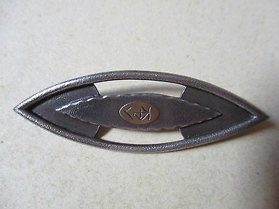Modern Irish Solid Silver Designer Brooch With Central Oriental Mark