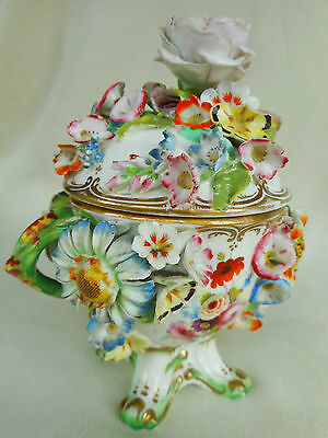 Coalbrookdale / Coalport Style Flower Encrusted Footed Bowl & Cover ~ Sumptuous.