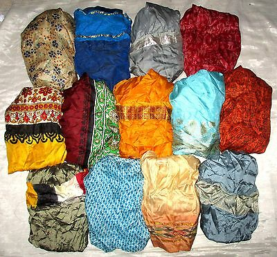 LOT PURE SILK Antique Vintage Sari Saree Fabric 13 Pcs 1 FOOT  Lt11 6k #ABCR1