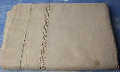 Antique French Linen sheet unbleached linen dark cream stunning french textile