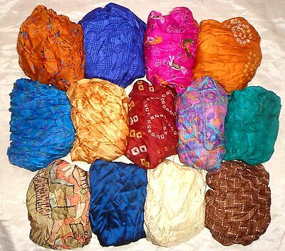LOT PURE SILK Antique Vintage Sari Saree Fabric 13 Pcs 1 FOOT  Lt18 Qk #ABCQM