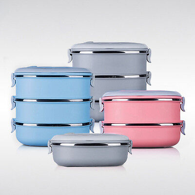 Hot Thermal Tiffin Box 1-3 Tier Portable Outdoor Travel Dinner Food Container