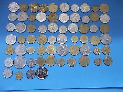 64 Coins Of France No Duplicates [#g848] 1960-1998 A Mixed 5C To 2 Francs