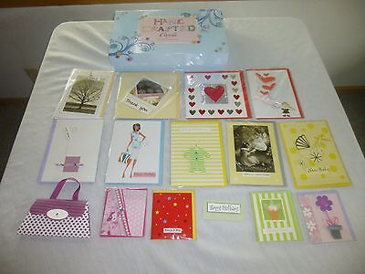 Handmade Lot 14 Greeting Cards with Storage Box Hand Crafted Cards All Occasion