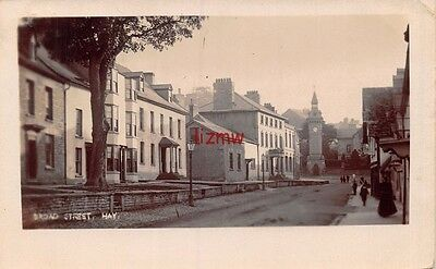 Breconshire Hay On Wye Broad Street Houses & Clock Tower Photo Card