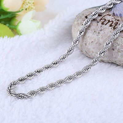 4MM Fashion Stainless Steel Twist Rope Chain Necklace for Men Women 16-36 inches