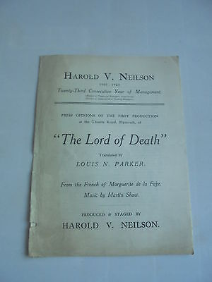 1923 Theatre Royal Plymouth The Lord Of Death Promotional Brochure