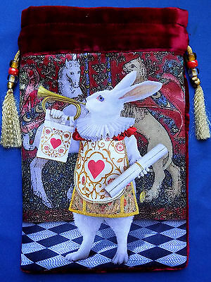 White Rabbit 'the Herald' Silk Velvet Tarot Card Bag Burgundy ~ Baba Studio New