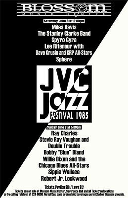 Miles Davis, Ray Charles, Stevie Ray Vaughan 1985 Cleveland Concert Poster