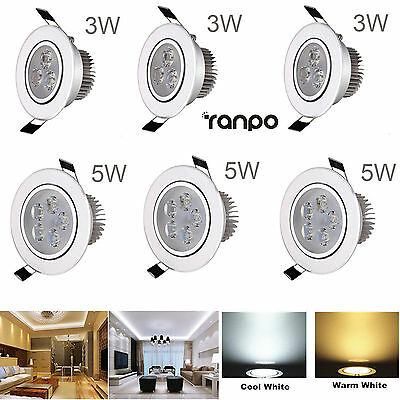 LED Ceiling Light Dimmable 3W 5W Recessed Fixture Downlight Spot Lamp LED Driver