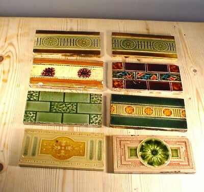 Antique Victorian Eight Fireplace Half-Tiles