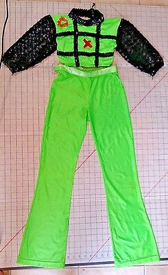 Tic Tac Toe Dance Competition Costume Girls sz L Green Black Sequin Top Pants