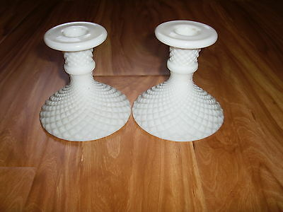 Lot of 2 Antique Candleholders Milkglass or Etched White Glass