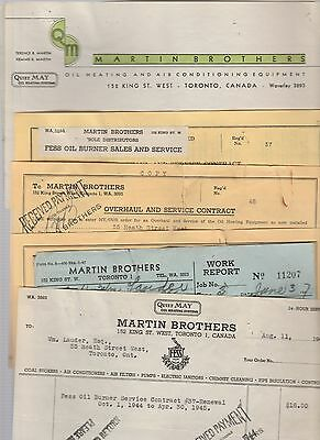 Martin Brothers Oil Heating Co Toronto Sales Receipts Documents 1944 - BA Gas