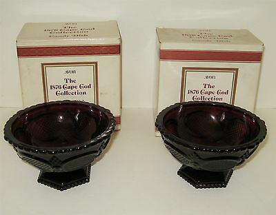2 AVON CAPE COD Ruby Red Footed Candy Dishes NIB
