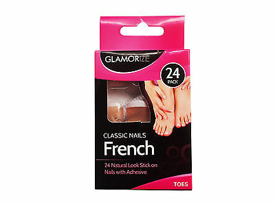 Glamorize French Manicure Toes Nails 24 Pack With Glue New Party