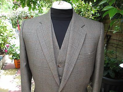 """40""""reg Fit Tweed 3 Pce Suit By Burton By Appt To The Queen Handstitched Gents"""