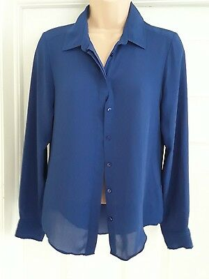 ladies size 8 blue long sleeve chiffon blouse by atmosphere