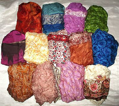 LOT PURE SILK Antique Vintage Sari Saree Fabric 13 Pcs 1 FOOT  Lt10 Nk #ABCUB